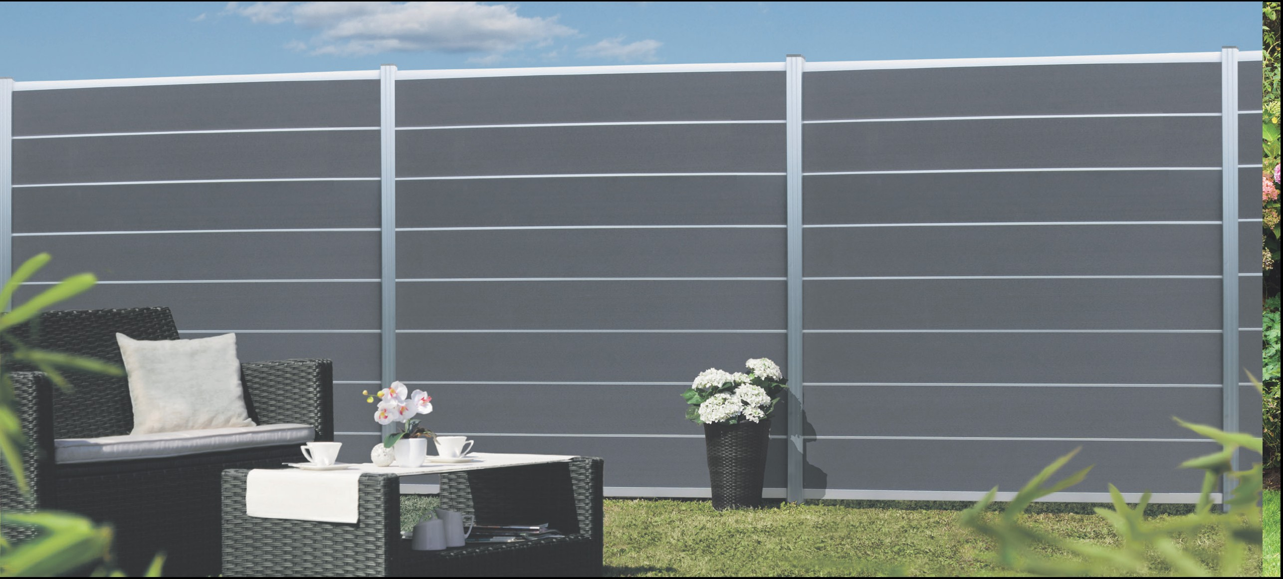 norderney serie wpc steckzaunsystem zaunset f r ein zaunfeld 180x175cm holz genie. Black Bedroom Furniture Sets. Home Design Ideas
