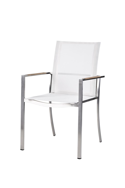 Florenz Stapelstuhl Edelstahl/Textilene (? weiß)