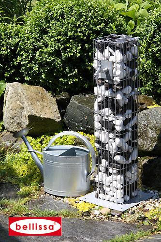 Wasserzapfsäule Gabione 16x16x90 cm, (Bodenplatte 28x28 cm)