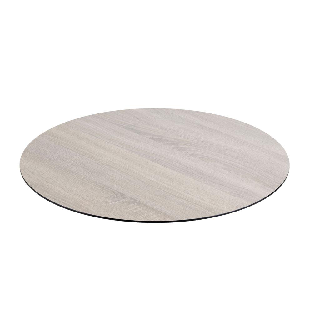 DiGa Compact (HPL) Tischplatte ( mit 20° Fase 68cm rund - Eiche sägerau)