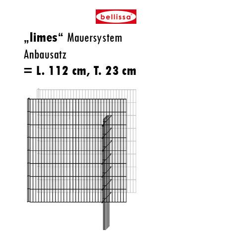 Mauersystem Gabione Anbausatz limes H 150 cm, T 23 cm, (L 112 cm)