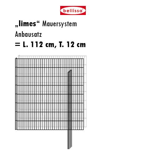 Mauersystem Gabione Anbausatz limes H 150 cm, T 12 cm, (L 112 cm)