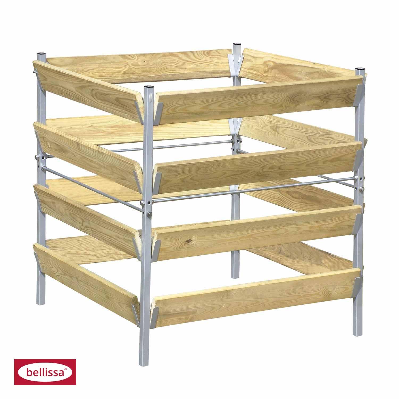 Komposter Holz/Metall 90x90x90 cm (feuerverzinkt)