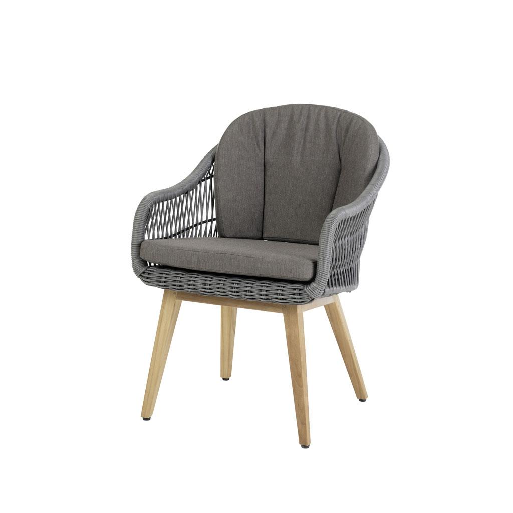 Nashville Stuhl inkl. Sitz und (Rückenkissen grau)