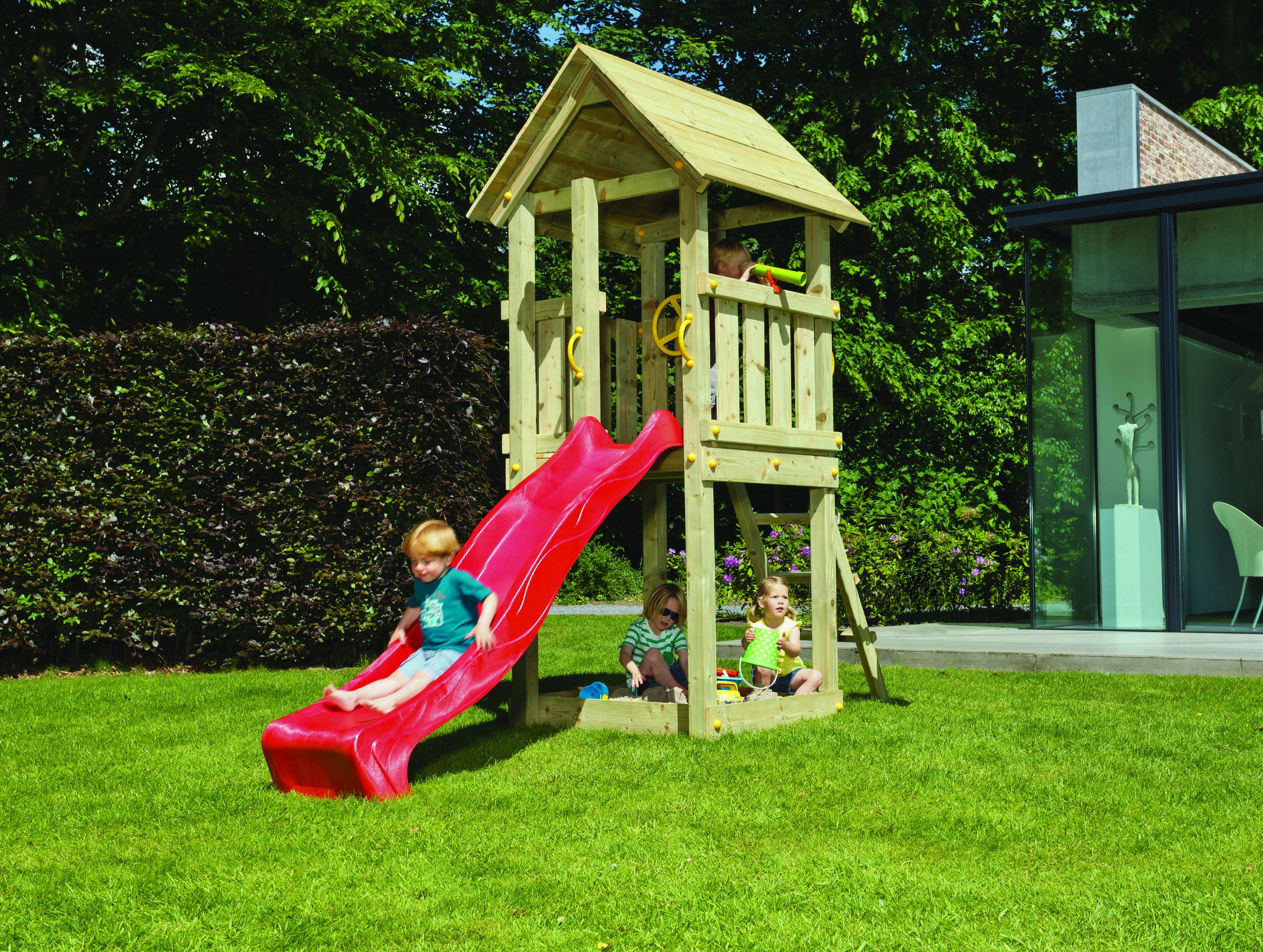 Spielturm Ben (mit Wellenrutsche 228 cm rot)