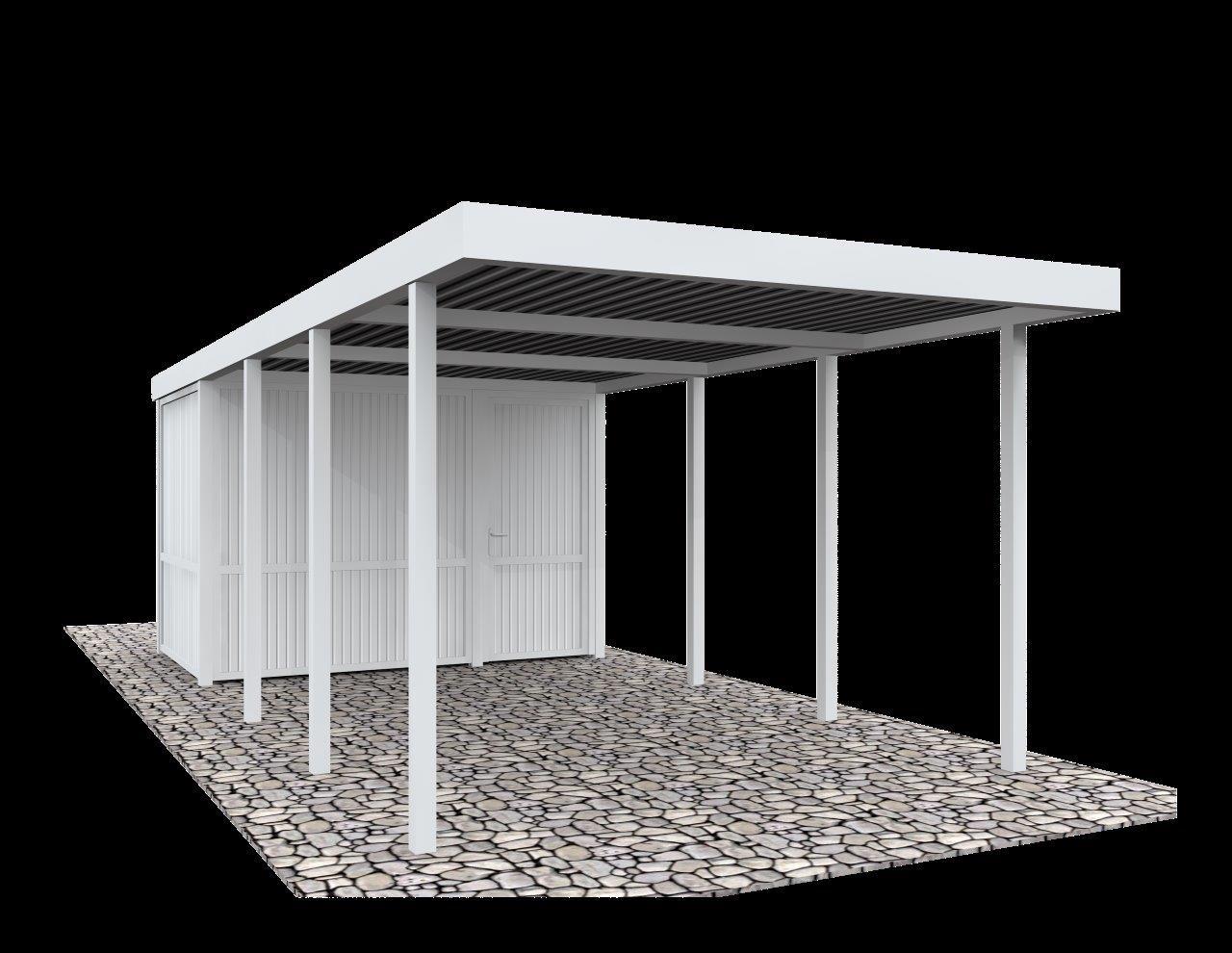BasicLine Carport mit Geräteraum (319x245x208 weiß) | Holzmarkt ...