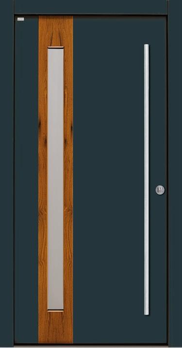 HT 676 Meranti Oberfläche Antrahzitgrau (Glasfeld mit Altholz-Eiche furniert)