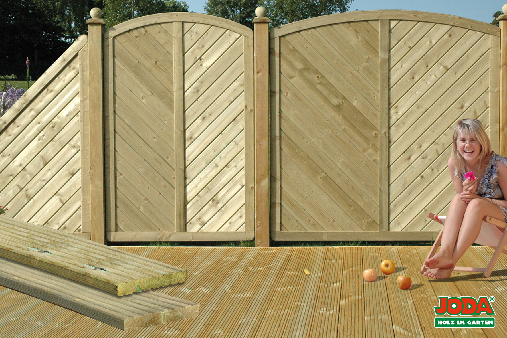 Komplett-Terrasse 4 x 3 m 27 x 145 mm (genutetes Profil Kiefer KDI)