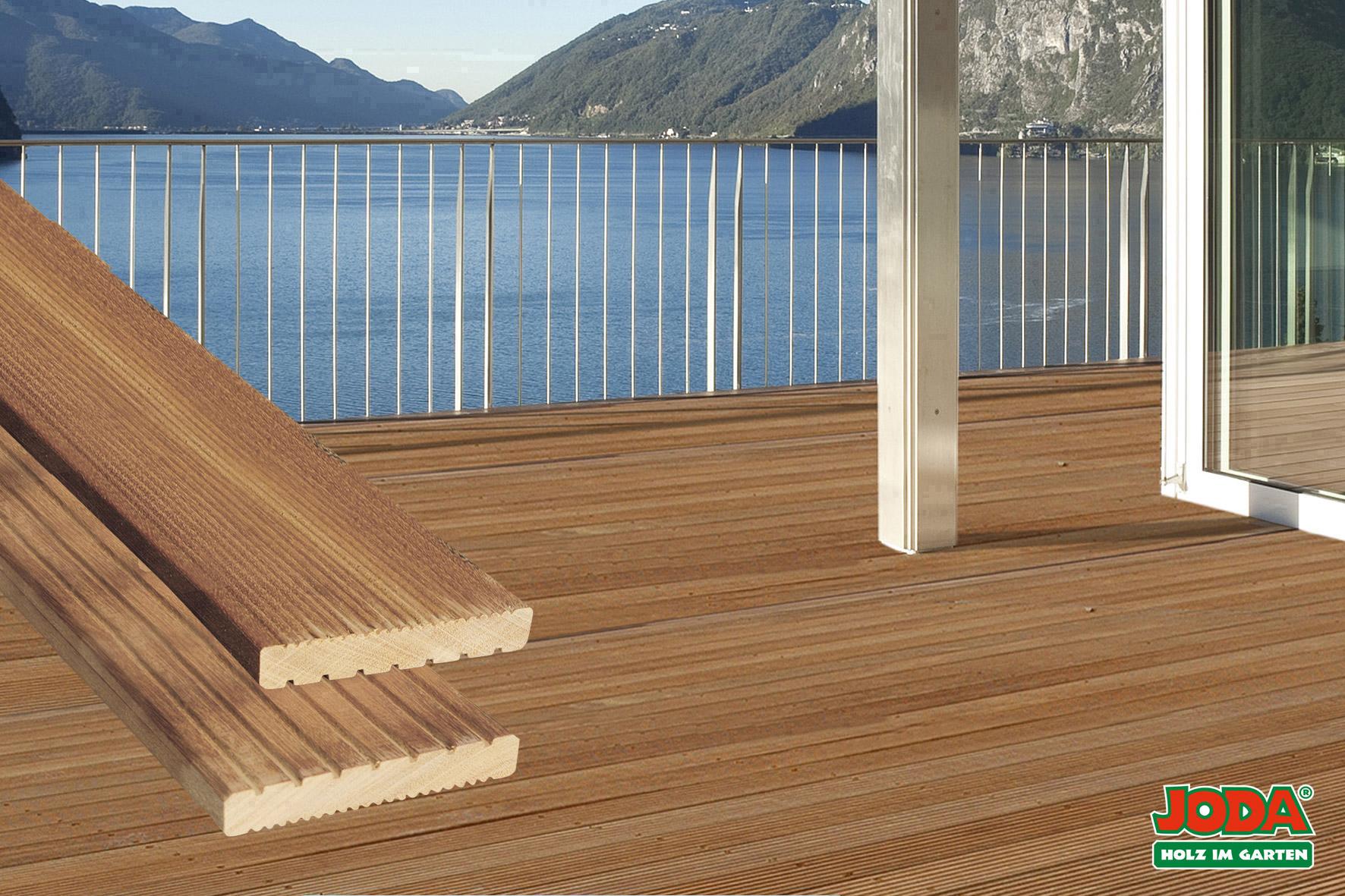 Komplett-Terrasse Bangkirai Fläche 3,05 x 3,97 m Dielenmaß 25 x 145 mm