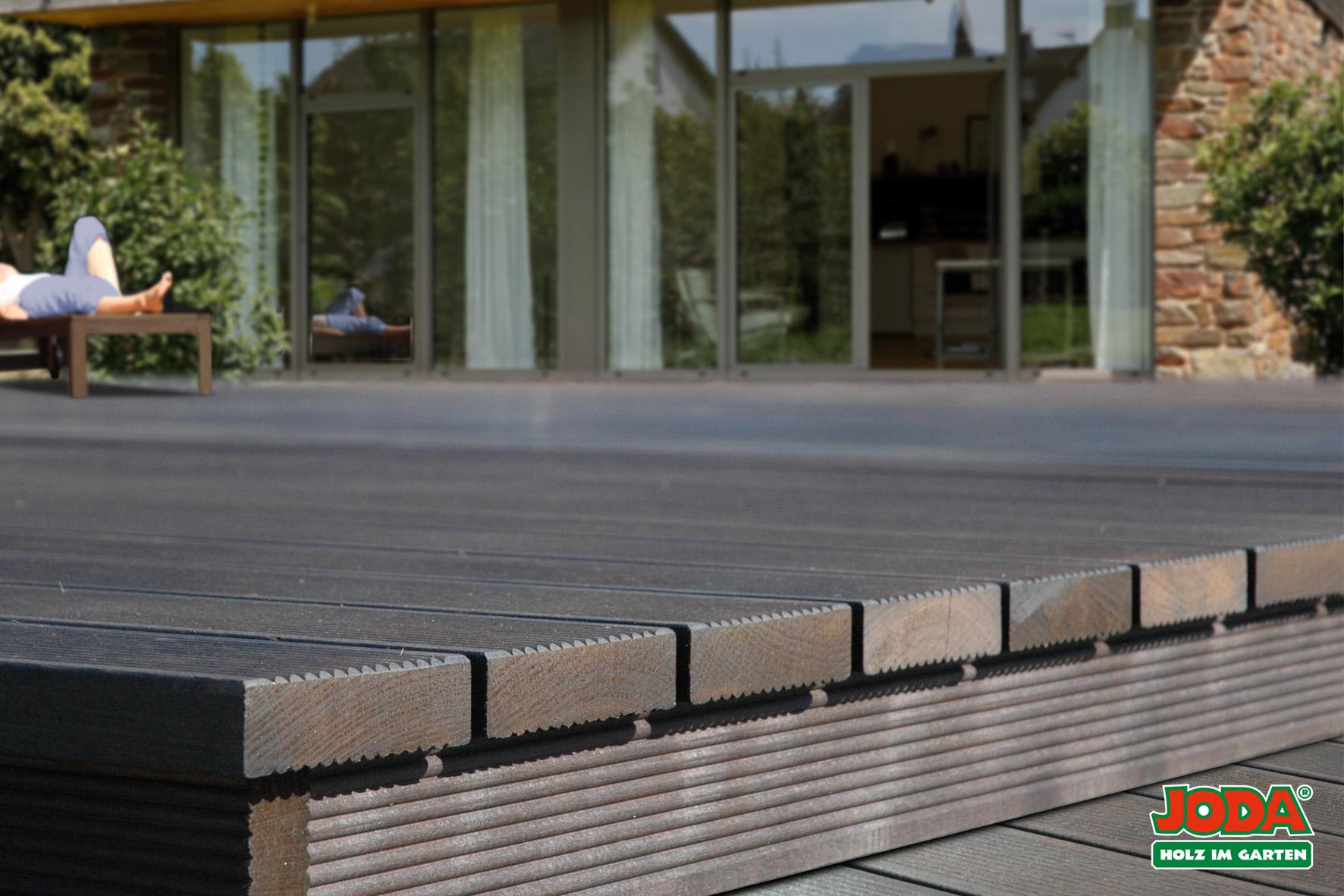 Komplett-Terrasse Thermo-Buche Fläche 3,00 x 3,05 m Dielenmaß 25 x 97 mm
