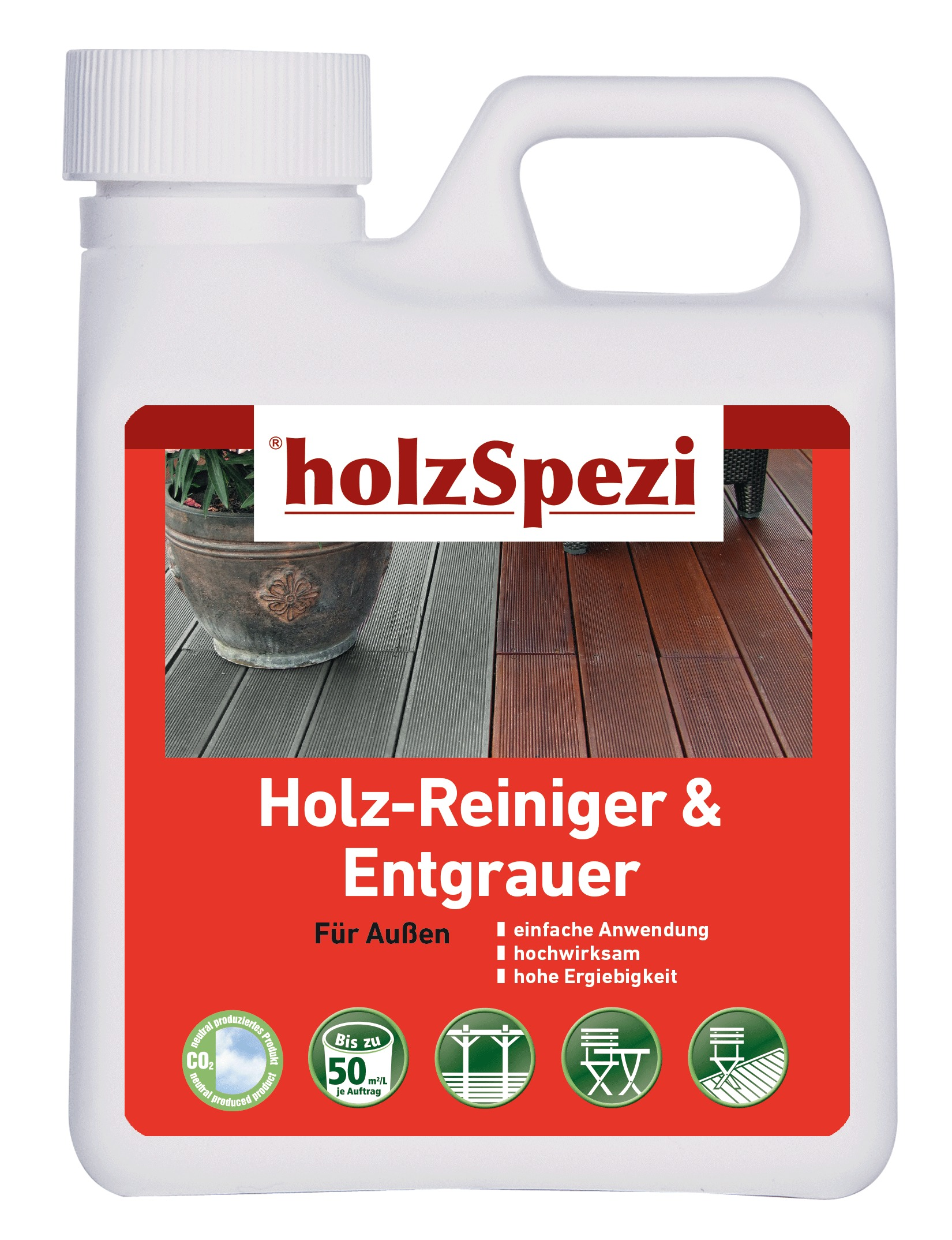 holzSpezi Holz-Reiniger & Entgrauer (farblos 1 Liter)