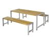 Vorschau: Planken - Garnitur (1 Tisch, 2 Bänke) sibirische Lärche