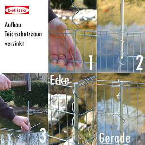 Teichschutzzaun-Set verzinkt (/ Kleintiergehege 710 x 80 cm)