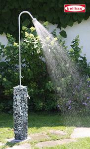 Gartendusche Gabione 16x16x220 cm, (Bodenplatte 28x28 cm)