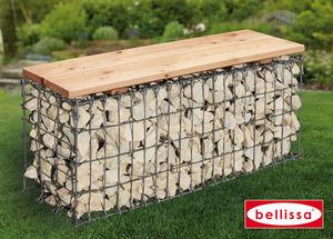Gartenbank Gabione L100xB30xH46 cm (Sitzfläche Holz)