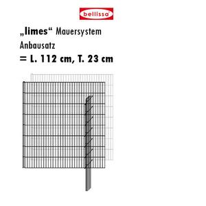Mauersystem Gabione Anbausatz limes H 180 cm, T 23 cm, (L 112 cm)