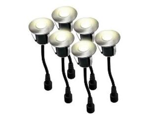 Mini Einbaustrahler Ø 4,5 cm mit 5 LED (warmweiß (6 je Set) Einbautiefe 45mm)