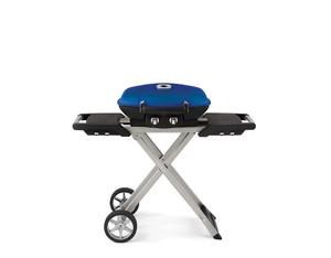 Mobiler Gasgrill TravelQ?, blau (mit klappbarem Wagen)