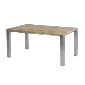 Piero Tisch 160 cm ? Edelstahl/ (Recycled Teak breite Lamellen)