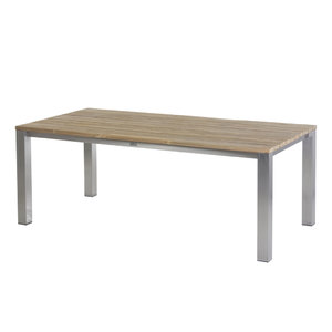 Piero Tisch 200 cm ? Edelstahl/ (Recycled Teak breite Lamellen)