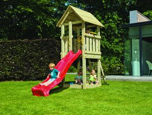Spielturm Ben (mit Wellenrutsche 290 cm rot)
