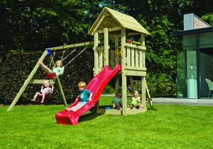 Spielturm Mia mit Doppelschaukel (mit Wellenrutsche 228 cm apfelgrün)