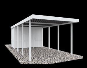 BasicLine Carport mit Geräteraum (319x245x208 weiß)